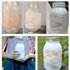 Lace Mason Jars DIY