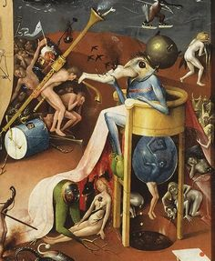 "Garden of Earthy Delights. #HiernoymusBosch, #Dutch 15th C. About 400 years before ""respectable"" Surrealism & Symbolism names were invented, Bosch's pioneering, imaginative, dreamy & nightmarish allegories on Life, Religion, Humans, Animals & Birds were startling departure from the conventional & aesthetic standards of of his day. Today his genius is universally recognized as a presage of Surrealism. But in his time & up to 18th C., his work was derided/dismissed as evil, witchery, supernatu..."