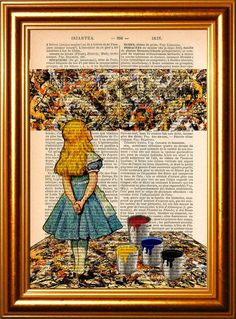An art print that shows Alice admiring the work of Jackson Pollock. | 27 Amazing Gifts For Art History Nerds
