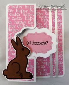 Chocolate Bunny Fancy Flip Card by stampwithkristine - Cards and Paper Crafts at Splitcoaststampers