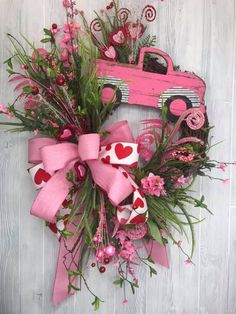Happy Valentine's Day. This beautiful Farmhouse Valentine's Day wreath makes the perfect front door decor. Don't you just love that truck and pink heart. Check out more DIY craft supplies are on our Etsy store or see them on our website Valentine Day Wreaths, My Funny Valentine, Valentines Day Decorations, Valentine Day Crafts, Holiday Wreaths, Happy Valentines Day, Valentine Ideas, Printable Valentine, Wreaths