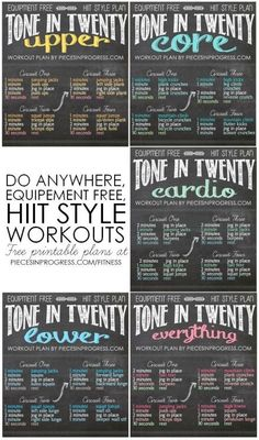 Tone in Twenty Workouts- 5 do anywhere HIIT style plans! #fitness #workoutplans #healthy 534 103 1 Chelsea Bracken fitness fun Abby Siler Fitness Great workouts!