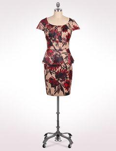 Women's | Dresses | Social Occasion Dresses | Floral Peplum Waist Dress | dressbarn