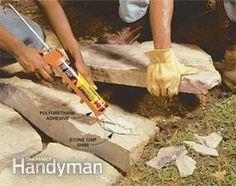 Use polyurethane adhesive instead Mortar is traditionally used to secure the top courses of stone on a wall. But polyurethane adhesive does the same thing without the hard work and mess of mixing mortar or the skill needed - I need to fix my steps! Outdoor Projects, Garden Projects, Garden Ideas, Outdoor Ideas, Mosaic Projects, Outdoor Life, Patio Ideas, Garden Inspiration, Backyard Ideas