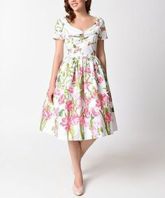767f1e68c9f6a White  amp  Pink Floral Whitman Dress - Plus Too  zulily  zulilyfinds  Sunday Clothes