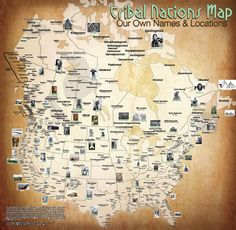 Carapella has designed maps of Canada and the continental U.S. showing the original locations and names of Native American tribes.Beautiful!