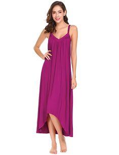 Womens Sleeveless Long Nightgown Summer Slip Night Dress Cotton Sleepshirt  Chemise - Rose Red 6696 - CW180HYEGDW b30921649