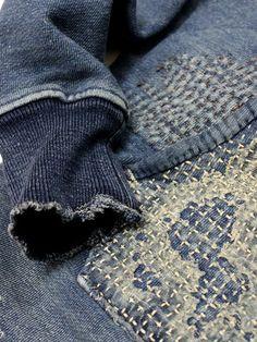 kapital indigo made in jaan sashiko boro Kind Of Blue, New Blue, Kintsugi, Shibori, Boro Stitching, Hand Stitching, Mood Indigo, Indigo Blue, Visible Mending