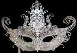Silver Mask on Stick with Swarovski Crystals