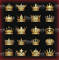 Crown set gold icons. Vector illustration https://ru.fotolia.com/p/201081749, http://ru.depositphotos.com/portfolio-1265408, https://creativemarket.com/kio