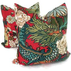 Items similar to Pair of Red Lacquer Schumacher Chiang Mai Dragon Pillow Covers on Etsy Pillow Set, Pillow Covers, Cushion Covers, Black Throw Pillows, Feather Pillows, Art Deco Era, Fabulous Fabrics, Pillow Forms, Chiang Mai