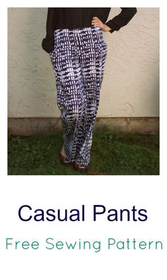 Casual pantw: free pants pattern for women. on the cutting floor. free sewing patterns and tutorials Sewing Patterns Free, Free Sewing, Clothing Patterns, Sewing Tutorials, Free Pattern, Sewing Diy, Sewing Projects, Sewing Ideas, Pants Pattern Free
