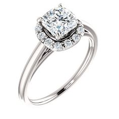14kt White Cushion Engagement Ring | Ever&Ever JVP Jewelry, Houston, Texas