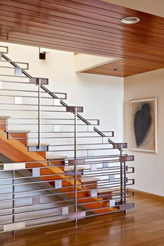 Sierra Madre Residence, by Studio William Hefner, stair railing, note: railing concept extends behind staircase