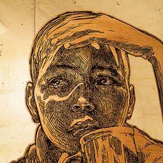 Swoon é conhecida por sua Street-art ao redor do mundo. Na exposição Motherland, através de instalação e grandes murais, ela exibe o registro dos rostos que viu em suas viagens.