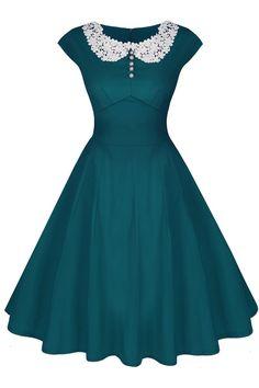 ACEVOG Women's Classy Vintage Audrey Hepburn Style 1940's Rockabilly Evening Dress at Amazon Women's Clothing store:
