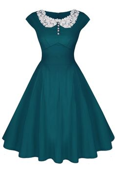 ACEVOG Women's Classy Vintage Audrey Hepburn Style 1940's Rockabilly Evening Dress at Amazon Women's Clothing store: