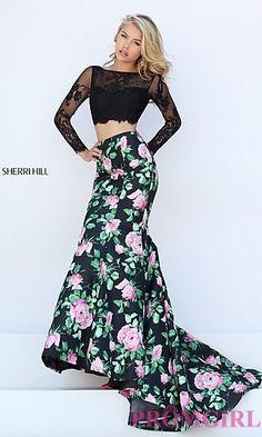 Black Floral Print Two Piece Sherri Hill Dress at PromGirl.com