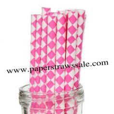 Paper Straws with Hot Pink Harlequin Diamond http://www.paperstrawssale.com/paper-straws-with-hot-pink-harlequin-diamond-500pcs-p-693.html