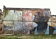 """Photographer Rey Parlá recently flew down to Havana with his brother, the painter and Standard collaborator José Parlá, and French artist JR, to document the pair's spectacular collaboration for the 11th Havana Biennial, """"Wrinkles of The City."""" José and JR created a series of monumental mural portraits of 25 elderly people who survived the Cuban Revolution."""