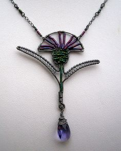 Scottish Thistle Art Nouveau style necklace by followtheredbrickrd, via Flickr