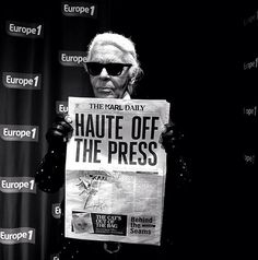 The legendary Lagerfeld with his first issue of #KarlDaily newspaper
