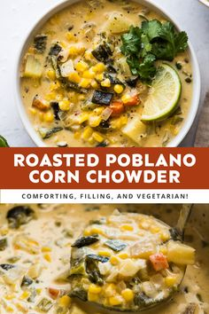 This creamy Roasted Poblano Corn Chowder recipe combines roasted poblano peppers, sweet corn, potatoes, and Mexican seasonings for a dose of delicious comfort in a bowl. It's an easy, filling, and vegetarian-friendly recipe perfect for weeknight dinners. #roastedpoblanocornchowder Vegetarian Mexican Recipes, Mexican Cooking, Roasted Poblano Peppers, Stuffed Poblano Peppers, Soup Recipes, Dinner Recipes, Soups And Stews, Eat