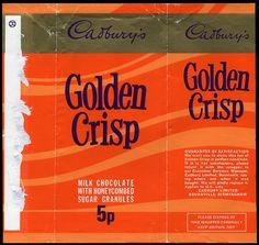 Cadburys Golden Crisp chocolate bar from the 70s Sweets, Vintage Sweets, Retro Sweets, Vintage Ads, Vintage Food, Vintage Photos, Sweet Memories, Childhood Memories, Toffee Crisp
