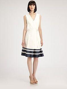Akris Punto  Belted Stripe Dress, off white/steel