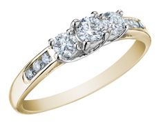 Three Stone Diamond Engagement Ring and Diamond Anniversary Ring 1/2 Carat (ctw) in 10K Yellow Gold (Certified), Size 9