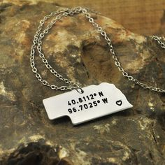 Nebraska  necklace Latitude Longitude Necklace Coordinate  925 sterling silver  necklace state necklace map necklace state charm