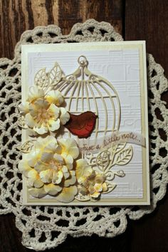 Just a Note, OOAK handmade card, Birdcage, song, flowers by HydeParkHill on Etsy
