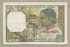 (Banknotes)  Comores - f100  1963  (P3b)  Uncirculated