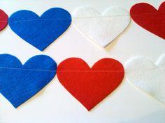Red White Blue Heart Felt Garland Decor Banner by heartFeltbyA,