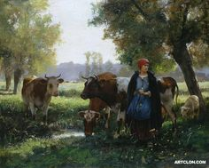 A Bord de la Mare - Julien Dupré (Dupre) Oil on canvas Oil Painting For Sale, Painting & Drawing, Horse Hay, Bull Cow, Romantic Paintings, France Art, Farm Art, Cow Art, Art Competitions