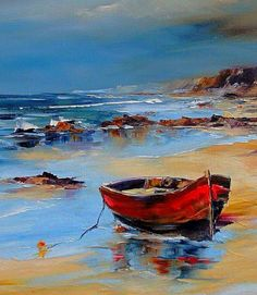 Red Fisherman's Boat On The Shores Of The Mediterranean Sea - Photography, Landscape photography, Photography tips Watercolor Landscape, Landscape Art, Landscape Paintings, Watercolor Art, Sailboat Painting, Boat Art, Seascape Paintings, Acrylic Paintings, Mediterranean Sea