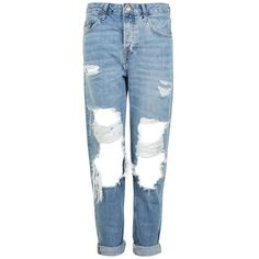 TopShop Moto Busted Ripped Hayden Boyfriend Jeans (82 CHF) ❤ liked on Polyvore featuring jeans, oversized jeans, low jeans, destruction jeans, torn boyfriend jeans and low-rise boyfriend jeans