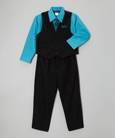 Turquoise Four-piece Vest Set - Infant, Toddler & Boys