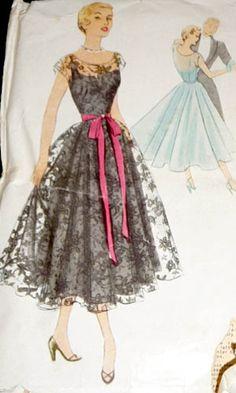 1950s lace dress vintage sewing pattern