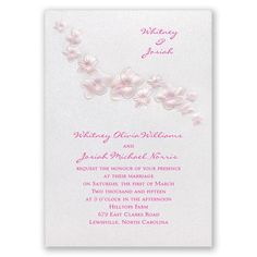 pretty plumeria wedding invitation - pink | floral wedding invites at Invitations By Dawn