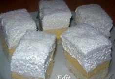 Érdekel a receptje? Hungarian Cake, Hungarian Recipes, Hungarian Food, Coconut Slice, Cake Bars, Pudding Recipes, Desert Recipes, Cake Cookies, Vanilla Cake