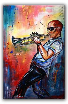 Musical Art Print by Paintings by Gretzky Illustrator, Figurative Kunst, Kunst Online, Image Categories, Motorcycle Clubs, Art Original, Woodland Party, How To Draw Hands, Trumpet