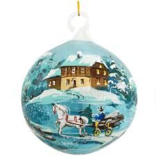 Sleigh Scene Blue Glass Ornament