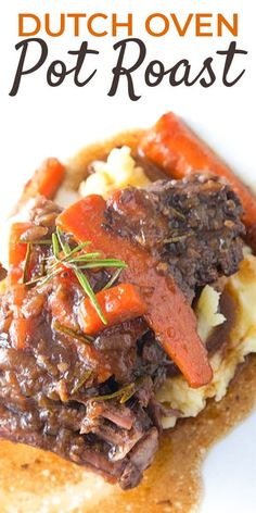 Try this comfort food classic that's super EASY to make! Our Dutch Oven Pot Roast is a one pot dinner perfect for Sunday Supper! A FAMILY favorite! Dutch Oven Pot Roast is a slow-cooked, one-pot… Dutch Oven Pot Roast, Beef Pot Roast, Dutch Oven Cooking, Chuck Roast Dutch Oven, Roast In The Oven, Dutch Oven Meals, Easy Dutch Oven Recipes, Slow Cooker Roast, Chuck Roast Recipes
