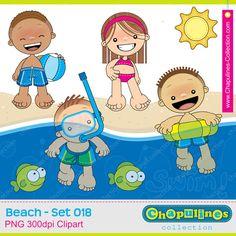 60% desc. Playa Clipart Niños - sol - peces - nadar, vacaciones ilustraciones, playa imágenes, Set 0018