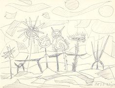 E. Besozzi pitt. 1959 Composizione biro su carta cm 13x16,5 arc. 592