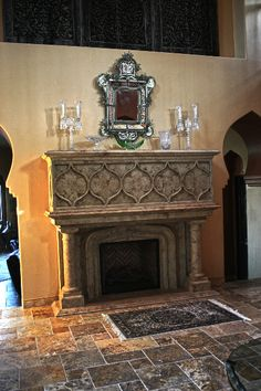 Fireplace Surrounds & Mantels - Nevada - Realm of Design company Decor, Fireplace Accessories, Gothic Decor, Architectural Elements, Gothic Interior, Beautiful Interiors, Fireplace Surrounds, Interior Architecture, Fireplace