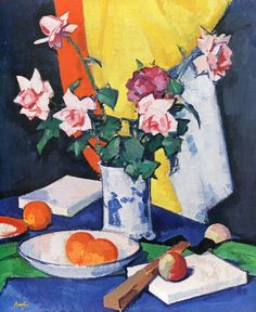 The Athenaeum - Red and Pink Roses, Oranges and Fan (Samuel John Peploe - )
