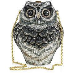 Judith Leiber Owl Crystal Box Bag (7 255 AUD) ❤ liked on Polyvore featuring bags, handbags, apparel & accessories, crystal purse, owl purse, owl print purse, sparkly purses and crystal bag