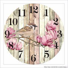 Clock Craft, Diy Clock, Decoupage Vintage, Decoupage Paper, Clocks Inspiration, Clock Face Printable, Clock Template, Clock Wallpaper, Decoupage Printables